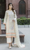 -Lawn Shirt Front 1.25 Mtr  -Lawn Shirt Back 1.75 Mtr  -Lawn Trouser 2.50 Mtr  -Sleeves from back  -Crinkle Embroidered Dupatta
