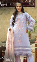 -Lawn Shirt Front 1.2 Mtr  -Lawn Shirt Back 1.75 Mtr  -Lawn Trouser 2.5 Mtr  -Sleeves from back  -Doria Embroidered Dupatta