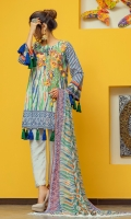 Digital Printed Embroidery Shirt 3 Mtr Printed Chiffon Dupatta 2.5 Mtr Dyed Trouser 2.5 Mtr Printed Back