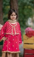 Gotta embroidered chiifon paired with jamawar gharara and net dupatta