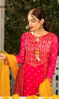 Fabric beautifully embroidered zari and sequins work chiffon with attached lining along with jamawar pants and chiffon duppata.