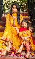 Chiragh is your perfect pick this season, a beautiful shade of yellow net shirt with golden block printing all over and shocking pink details on sleeves neckline and border, comes with a yellow net duppata and pants to complete the look.