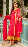 A surreal vibrant red chiffon angharkha with intricate zari embroidery all over completed with gorgeous border and tassels to finish the look, paired with red straight pants and chiffon red duppata with kiran finishing on borders.
