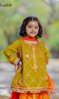 Zari gotta embroidered soft chiffon paired with jamawar lehnga and net kingri duppta