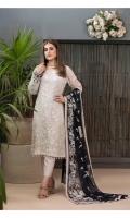 Semi-Stitched Embroidered White Chiffon   Exclusive Fancy Embroidered Blue & White Chiffon Dupattas   Along with Viscose Shalwar