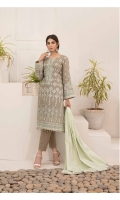 - Semi Stitched Embroidered Table Print Jacquard Cotton Shirts  - Cotton Broshia Dupatta  - Plain Dyed Shalwar