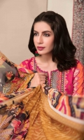 Un-Stitched Digital Printed Banarsi Lawn Front & Plain Lawn Digital Printed Back & Sleeves Chiffon Digital Printed Dupattas Plain Cambric Shalwar