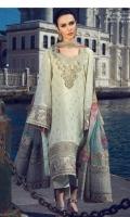 3 Piece Embroidered Suit Shirt : Jacquard Dupatta : Digital Printed Chiffon Sleeves: Jacquard Trouser : Dyed EMBROIDERY Embroidered Gala Embroidered Daman For Front Embroidered Border For Sleeves Embroidered Pallus For Duppata