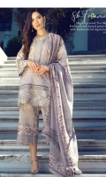 3 Piece Embroidered Suit Shirt : Digital Printed Lawn Dupatta : Digital Printed Net  Sleeves: Digital Printed Lawn Trouser : Digital Printed   BORDER Digital Printed Border For Back EMBROIDERY Embroidered Daman For Front Embroidered Neckline Embroidered Border For Sleeves