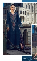 3 Piece Embroidered Suit Shirt Front: Lawn Kari Shirt Back:Digital Printed Lawn Dupatta : Digital Printed Silk Sleeves:Lawn Kari Trouser : Dyed EMBROIDERY Embroidered Lawn Kari For Front and Sleeves Embroidered Gala Embroidered Border For Sleeves Embroidered Daman For Front