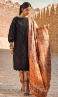 Lawn 3 piece embroidered shirt with silk dupatta and Printed dobby trouser.