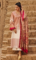 SHIRT :JACQUARD DIGITAL PRINTED EMBROIDERED  DUPATTA : PURE SILK DIGITAL PRINTED DUPATTA  SHALWAR: JACQUARD DOBBY DYED EMBROIDERED
