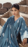 Dobby 3 piece embroidered shirt with embroidered lawn dupatta and plain dobby trouser