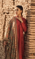 DUPATTA :DOBBY DYED EMBROIDERED  SHIRT & SHALWAR :Dobby 3 piece embroidered shirt with silk dupatta and embroidered dobby trouser