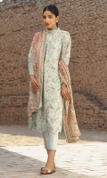 Dobby 3 piece embroidered shirt with lawn dupatta and plain dobby trouser.