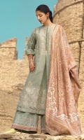 Jacquard 3 piece embroidered shirt with silk dupatta and embroidered dobby trouser.