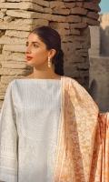 Lawn 3 piece embroidered shirt with printed lawn dupatta and embroidered dobby trouser.