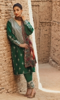 Dobby 3 piece embroidered shirt with printed lawn dupatta and embroidered  dobby trousers.
