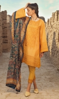 Dobby 3 piece embroidered shirt with lawn dupatta and embodied dobby trouser.