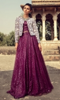 Featuring magnificent flowing plum attire illustrated with heavily floral embroidered jacket edged with gotta layered on a sparkly sequin blouse and skirt. This silhouette is enchanting and perfect for parties, full of beauty moments.