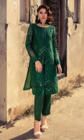 Stitched front open style shirt layered with intricate embroidery teamed with  mirror worked  laid on luxe  organza fabric . Green on green detailing enhanced with mirror work detailing is  giving  sophisticated vibes for  you day or night events.