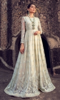 Stitched net embroidered full length dress adorned with dancing floral embroideries on sea green base trimmed with mirror work details . Fully embroidered silhouette is enriched by sequin lining inside. Style that never goes out of style.