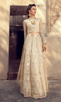 Elegant and majestic, Stitched organza lehenga and blouse for masterly crafted with fine embroidery, layered with mirrorwork details on beige canvas. A perfect formal wear for an intimate wedding occasion.