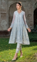 delicate embroideries  composed with  peachy florals on powder blue canvas .finished  with pearl detailngs . This stitched mid length front open dress is  comes with seperate slip.