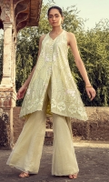 Stitched Mid-length dress with a halter-neckline.  An elegant lime green dress with heavenly embroidered details finished of with pearls on the edges .This article  is an eleagant mid length dress which is  fully front and back embroidered.
