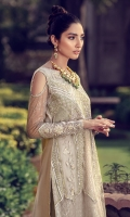 Stitched embroidered straight shirt with stunning embroidery, zaree and mirror work details. This is made on nude color.