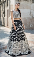 Stitched organza embroidered blouse and lehenga. This beautiful blouse and lehenga is made from our signature embroidery pattern enhanced with trendy mirror work details.