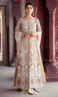 Stitched formal wear dress with exquiste filgree details laid on net. A combination of mirror work and silk thread encrusted with zaree embroidery. This is an examplary outfit for evening or daytime glamour.