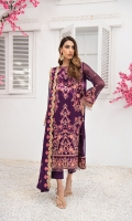 Embroidered Chiffon Front Embroidered Chiffon Back Embroidered Chiffon Sleeves Embroidered Grip Front and Back Border Embroidered Grip Sleeves Border Embroidered Chiffon Dupatta Raw Silk Trousers