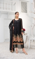 Embroidered Chiffon Front Embroidered Chiffon Back Embroidered Chiffon Sleeves Embroidered Raw Silk Front and Back Border Embroidered Raw Silk Sleeves Border Embroidered Chiffon Dupatta Raw Silk Trousers
