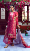 Candies the grass, or casts an icy cream. Upon the silver lake or crystal stream. Covered in sombre pink embroidery and gold embellishment, paired with organza silk dupatta.    4 Piece Suit