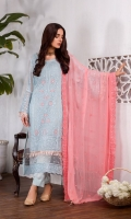 Embroidered chiffon center panel Embroidered chiffon side panels Plain chiffon back Embroidered chiffon sleeves Organza border for front / back 2 yards Organza lace for sleeves 1 yard Embroidered chiffon dupatta Raw silk trouser