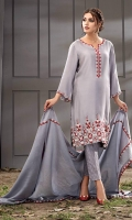 A grey cotton net shirt is delicately worked with artful patterns, elevated in luxury with mirror work. Paired with a net silk dupatta in a soft grey with a matching cotton jacquard pants. *The length of the shirt is 42 inches.
