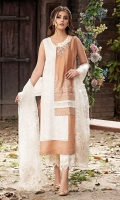 Cotton net plain block brown shirt with off white embroideries and a hand embellished pearl neckline motif. It is paired with block print pants and dupatta. *The length of the shirt is 45 inches.