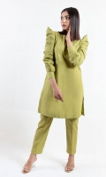 A Solid Pastel Hued Cotton Shirt And Trouser With Fun Puff Sleeves
