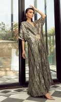 Strike a pose this season in this sultry kaftan A glorious black and gold Sequins fabric serves as the canvas for this delectable design with meticulous hand embellishments and a perfectly flattering motif at the front A timeless style that never fails to impress!