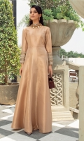 Take on the eid festivities in this ethereal floor length Metallic gown Featuring heavily hand embellished sleeves
