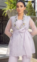 An exquisitely sheer organza wrap, in a dreamy shade of lilac Beautifully embellished with a crystalline neckline Paired with matching inner and straight pants This ensemble will take you effortlessly from festive events to evening soirees
