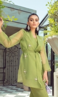 This beautiful wrap has delicate embellishments on a base of Green Paired with a inner and straight l pants this outfit is a classic and versatile festive look A timeless style that never fails to impress!