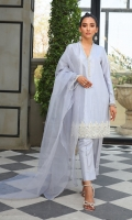 A beautifully embellished shirt' depicts sparkling crystalline ornamentation on overall the shirt and heavenly embellished hem Paired with a straight pants and organza Dupatta
