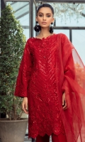 An elegant shirt rendered in a superb shade of Deep Red Adorned with Floral embroidery and hand embellishments all over the shirt,creating a dreamy composition Paired with organza dupatta and straight pants This elegant ensemble will see you throug Eid festivities in style