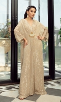 Stand tall in our pristine kaftan Featuring Gold Motif at the front and v neckline With this classic silhouette will become an indispensable part of your formals wardrobe!