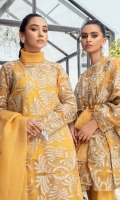 Stunning mustard Shirt embossed with white and gold floral thread work and a fringe trim Paired with a sharara and an organza dupatta for an ethereal and incandescent ensemble that makes for an effortless formal look