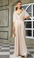 Exude classical elegance in our metalic ivory Kaftan Designed with a beautiful v-cut neckline with intricate hand-embellishment This Floor length dress features a flowy silhouette that's endlessly flattering