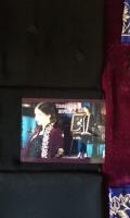 material is velvet coat with all front back sleeves embroideries,full emb inner,emb dubata,plain trouser.