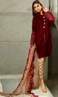 material is velvet front and sleeves, two paches for shirt and two paches for sleeves, digital printed silk back with full embroidered net dubata  and plain trouser